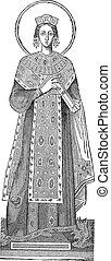 Statue of Saint Agnes, vintage engraving