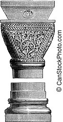Byzantine Art Object at the Basilica of San Vitale in Ravenna, Italy, vintage engraving