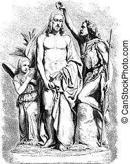 Baptism of Jesus Christ, vintage engraving - Baptism of...