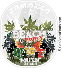 Reggae jamaica - illustration for shirt printed and poster