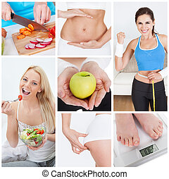 Diet set - Collage of various dieting related images and...