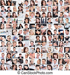 Large set of various business images in the office