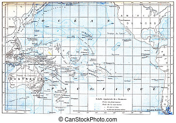 Map of the Pacific Ocean, vintage engraving - Map of the...