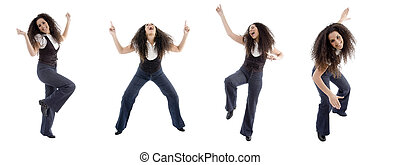 different poses of dancing woman on an isolated background