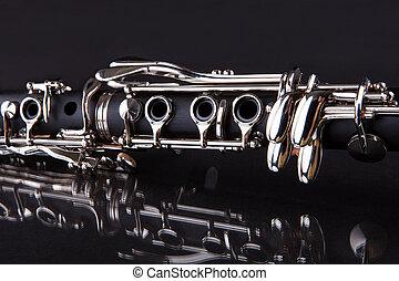 primer plano, de, clarinete