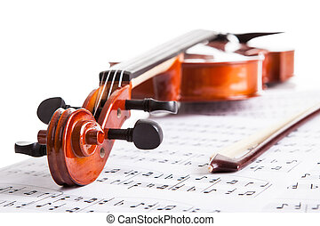 Violin And Musical Notes - Close-up Photo Of Violin And...