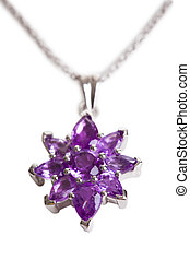 Amethyst Pendant - Close-up Of Amethyst Pendant. Isolated On...