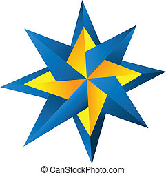 Compass rose logo - Compass rose in blue and orange logo...