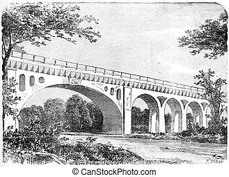 Fontainebleau Aqueduct in Seine-et-Marne, France, vintage...