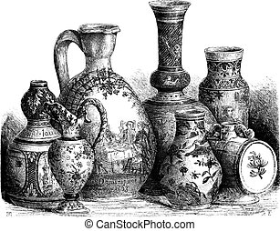 Various Earthenwares, vintage engraving - Various...