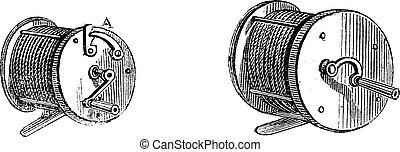 Fishing Reels, vintage engraving - Fishing Reels, vintage...