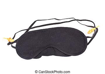 Black blindfold isolated on white