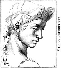 Head Comic by Michaelangelo, vintage engraving - Head Comic...