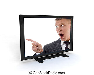 shouting man in television on an isolated background