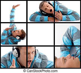 composition of different poses of man with headphone on...