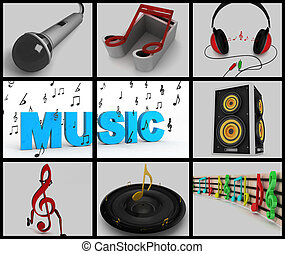 collage of musical notes and musical equipments - collage of...