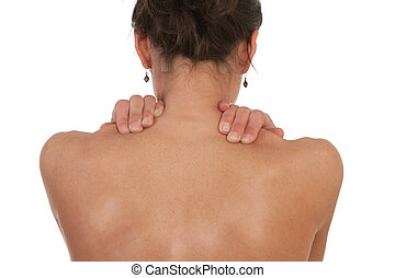 Neck and shoulder muscle pain - Woman with neck and shoulder...