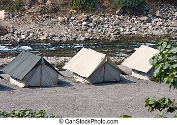 Camp on the banks of the Ganges River. India. - Camp on the...
