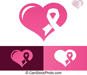 Pink Ribbon Heart Awarness Icon - Heart with pink ribbon...