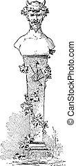 Bust of Faun, vintage engraving