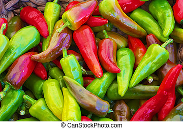 red green yellow purple hot Peppers at the farmers market...