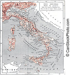 Topographical Map of Ancient Italy, vintage engraving -...