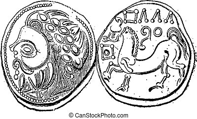 Ancient Celtic Didrachma Coin, vintage engraving
