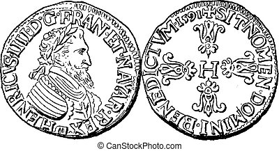 Coin Currency, Henry IV of France, vintage engraving