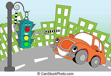 cheerful lights - Cheerful cartoon traffic light regulating...