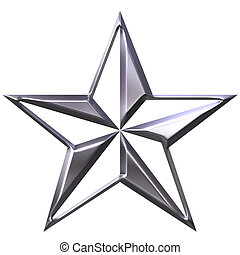 3D Silver Star - 3d silver star isolated in white