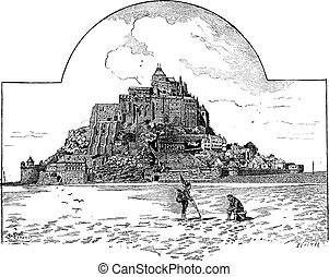 Saint Michaels Mount, in Normandy, France, vintage engraving...