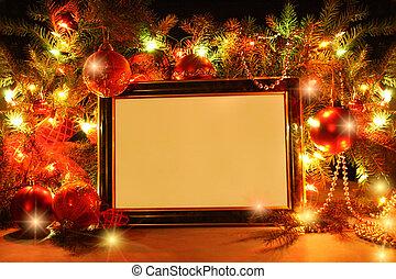 Christmas lights frame - Abstract Christmas tree, lights,...