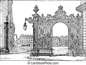 Place Stanislas, in Nancy, Lorraine, France, vintage...