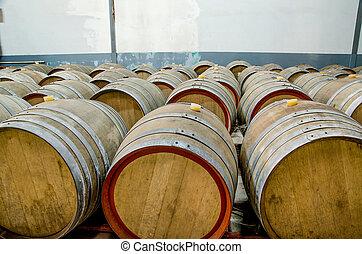 Wine barrels in cellar