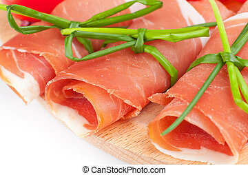 Raw ham on white background