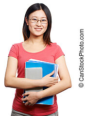 College student - Isolated portrait of a female college...