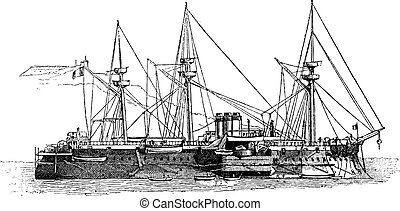 The Courbet, French Iron-clad Battleship, vintage engraving...