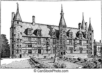 Ducal Palace, in Nevers, Burgundy, France, vintage engraving