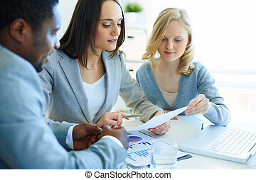 Financial results - Managers being gathered to discuss the...