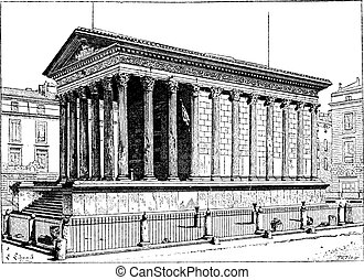 Maison Carree, in Nimes, Languedoc-Roussillon, France,...