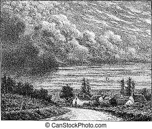 Cloud, vintage engraving