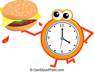 burger time - Cartoon clock man holding a tasty cheeseburger...