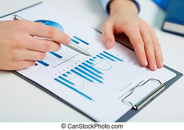 Printed statistics - Close-up of printed statistics analyzed...