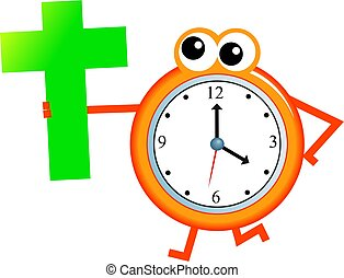 Christian time - Cartoon clock man holding a cross symbol...