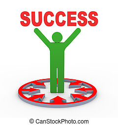 3d man holding success - 3d render of man in centre of...