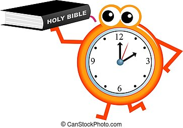bible time - Cartoon clock man holding an Holy Bible...