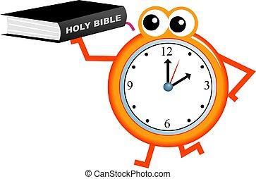 bible time - Cartoon clock man holding an Holy Bible...