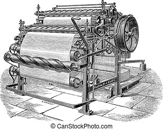 Paper Machine with Two Cylinders, vintage engraving - Paper...
