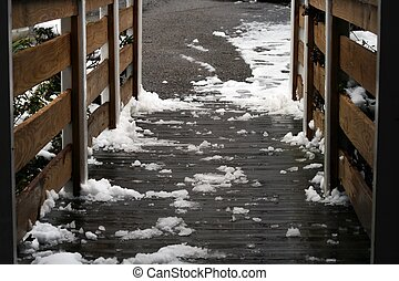 Melting Snow on Handicap Ramp Close - This close up...