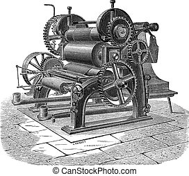 Paper Machine with Three Cylinders, vintage engraving -...